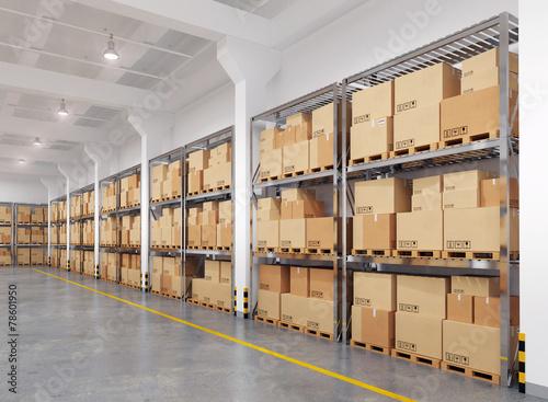 Leinwandbild Motiv 3d rendered warehouse with many racks and boxes