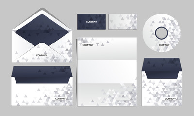 Blue corporate origami identity template. For brandbook