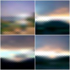 Blurred sunset hexagonal backgrounds set, sunrise wallpaper
