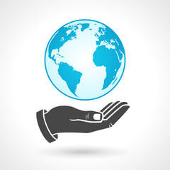 Hand Holding Earth Globe Symbol