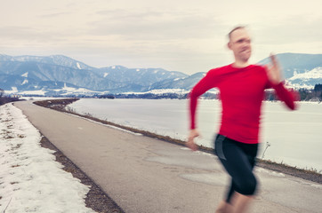 Speed runer on the winter road