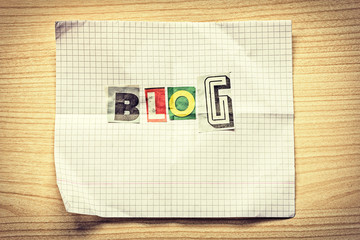 Word BLOG from various letters cut out of newspapers and magazin
