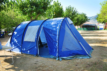 blue tent in the camping