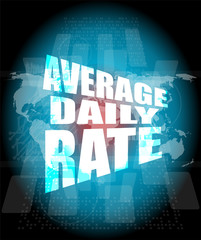 average daily rate words on digital screen