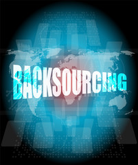 word backsourcing on digital touch screen