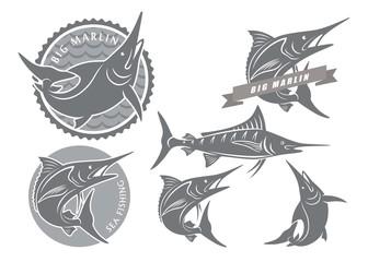 icons  of marlin fishing