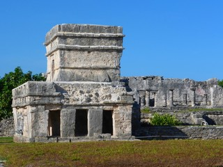 Temple with three windows at Tulum in Mexico