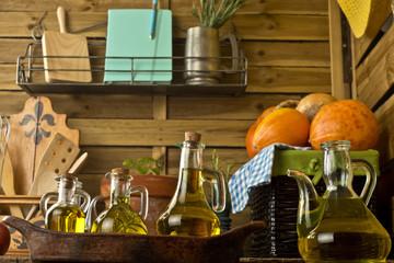 Bottles of different olive oils
