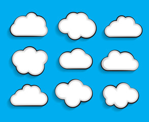 Set of Flat Cloud Shaped Frames with Long Shadows Vector Illustr