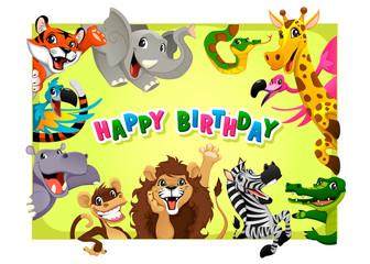 Happy Birthday card with Jungle animals