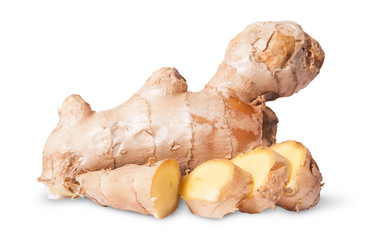 Sliced and whole ginger root
