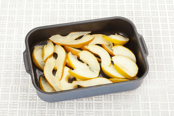 pears in a baking dish