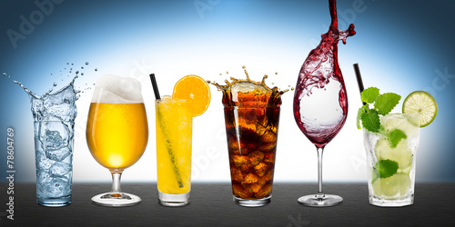row of various beverages - 78604769