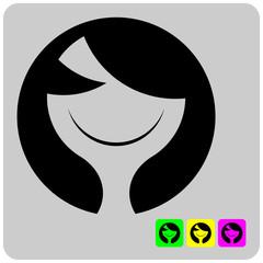 cheerful stylized alien woman face