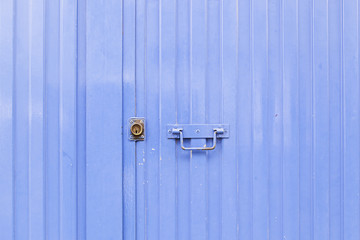 Blue metal door