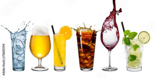 Leinwandbild Motiv row of various beverages