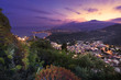 Sicily: Aerial view of Etna Mount and Taormina at sunset - 78606347
