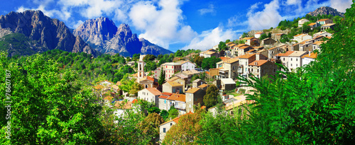 Leinwandbild Motiv Evisa - beautiful mountain village in Corsica
