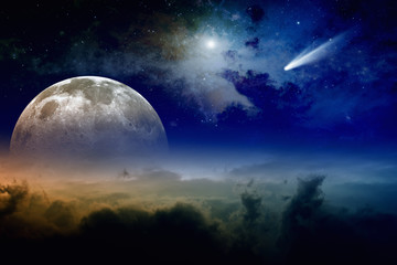 Full moon and comet