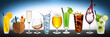 row of various beverages - 78608366