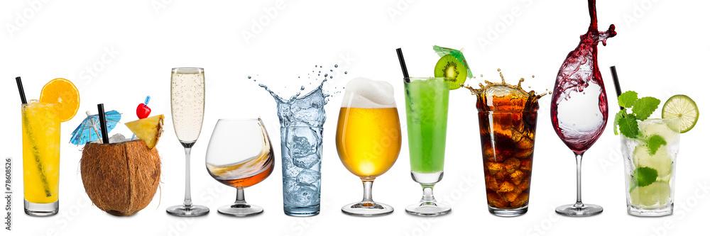 k chenr ckwand aus glas mit foto row of various beverages. Black Bedroom Furniture Sets. Home Design Ideas
