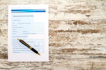 Travel insurance claim form.