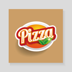 Pizza lettering - vector