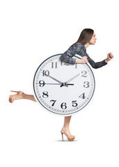 woman and big white clock