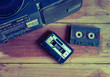canvas print picture - old cassette tape and player ,vintage style