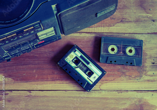 canvas print picture old cassette tape and player ,vintage style