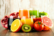 Glasses of fresh organic vegetable and fruit juices - 78609109