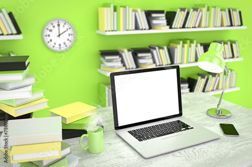 canvas print picture Laptop and phone On Workspace