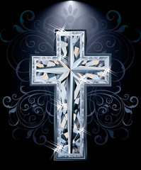 Christian diamonds Cross card, vector illustration