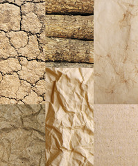 Assortment of different textures in collage, mix of textures as