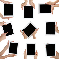 Hand holding tablet pc isolated