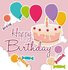 Happy Birthday design, vector illustration.