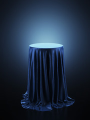 Table covered with blue cloth