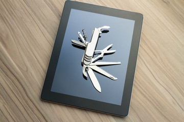 Tablet with penknife