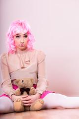 depressed sad woman with teddy bear