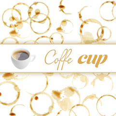 Cup of coffee on coffee stains background