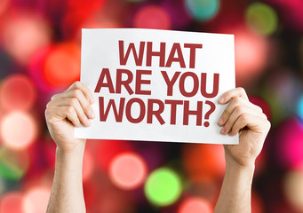 What Are You Worth? card with colorful background