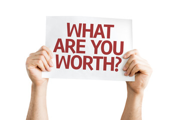 What Are You Worth? card isolated on white background