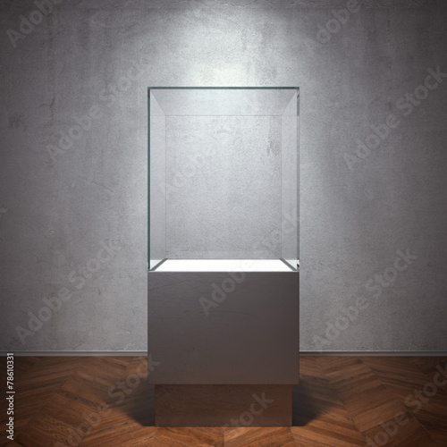 Empty glass showcase for exhibit - 78610331