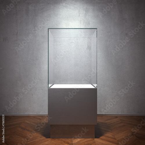 Empty glass showcase for exhibit - 78610331