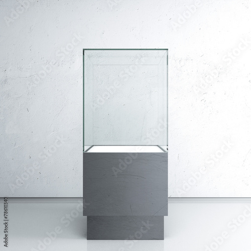 Empty glass showcase for exhibit - 78610340