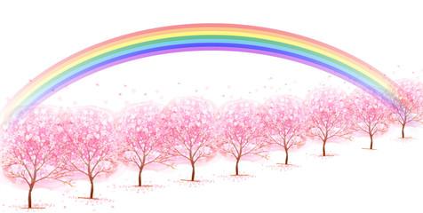 桜 虹 背景