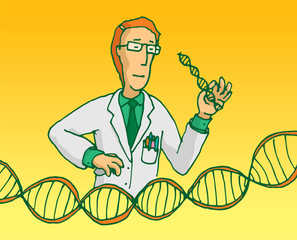 Scientist researching genes or dna sequence