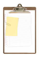 Clipboard with untidy note paper