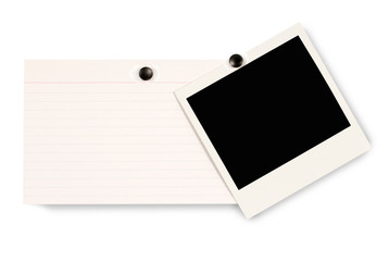 Blank instant picture print with index card