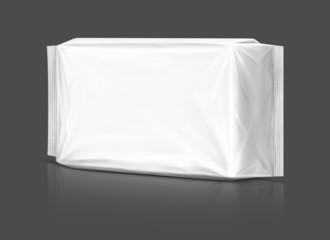 Blank plastic pouch isolated on gray background